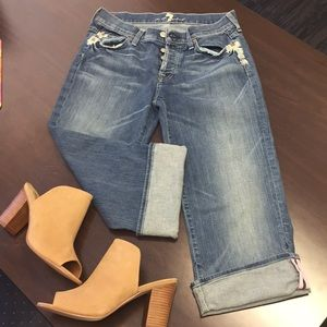 7 For all Mankind Crop button fly